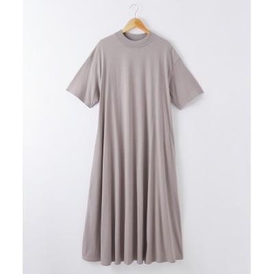 綿100% ハイネックフレアワンピース (ワンピース)Dress