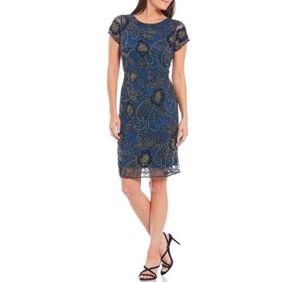 ピサッロナイツ レディース ワンピース トップス Short Sleeve Beaded Sheath Dress Petrol Blue