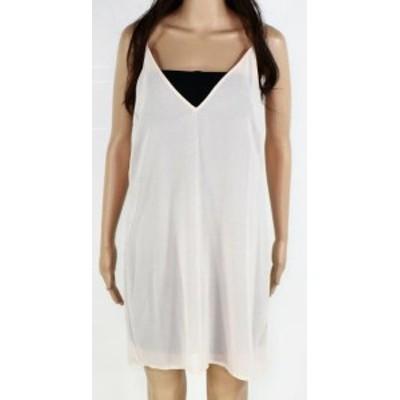 ファッション ドレス Designer Brand Womens Dress Beige Size Medium M Slip Sheer V-Neck