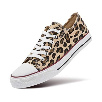 ZGR Women's Canvas Low Top Sneaker Lace-up Classic Casual Shoes Black and White (US9, Leopard【並行輸入品】