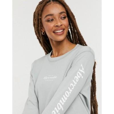 アバクロンビー&フィッチ Abercrombie & Fitch レディース 長袖Tシャツ ロゴTシャツ Logo Sleeve Crew Neck Long Sleeve T Shirt In Light Green