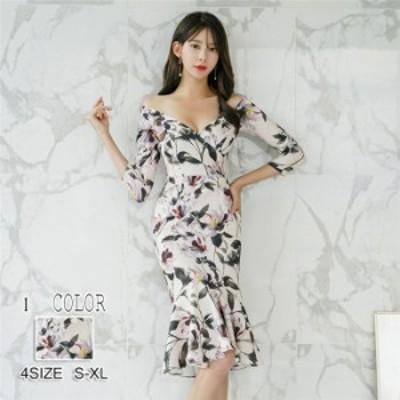 ワンピース レディース 花柄ワンピース アウターフレアワンピース マーメイドワンピース セクシー 韓国ファッション 2018新作