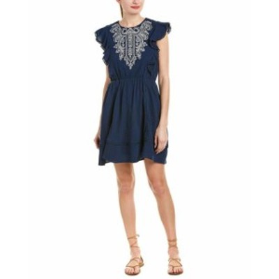 moon ムーン ファッション ドレス Moon River Embroidered A-Line Dress Xs Blue