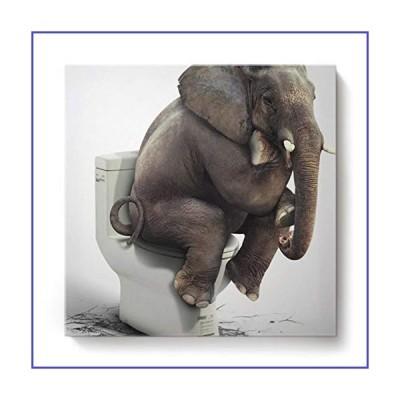 正方形キャンバス壁アート油絵寝室リビングルームホームデコトイレに座っている面白い象アニマ