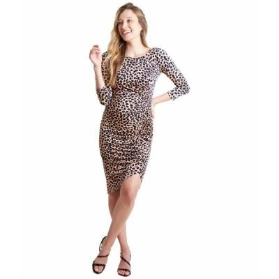 イングリッドアンドイザベル ワンピース トップス レディース Maternity 3/4 Sleeve Front Shirred Dress Taupe Leopard Print