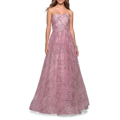 ラフェム レディース ワンピース トップス Sequined Strapless Sweetheart Ball Gown