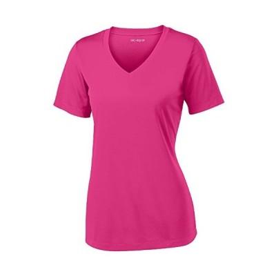 Women's Short Sleeve Moisture Wicking Athletic Shirt-Raspberry-L