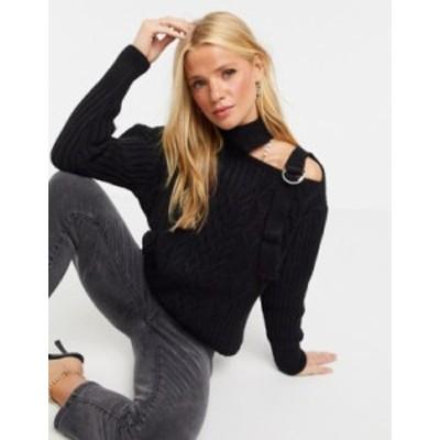 リバーアイランド レディース ニット・セーター アウター River Island cold shoulder cable knit sweater in black Black
