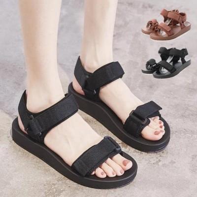 サンダルスポーツサンダルベルトサンダル歩きやすい厚底夏ヒールウェッジ黒無地マジックテープベルクロシューズ靴レディース