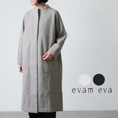 evameva (エヴァムエヴァ) press wool long coat / プレスウールロングコート
