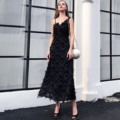 ブラック黒 ノースリーブ ロングパーティードレス キレイめ 上品 発表会 誕生日 演奏会ドレス 30代 40代 お呼ばれ 成人式 イブニングドレス