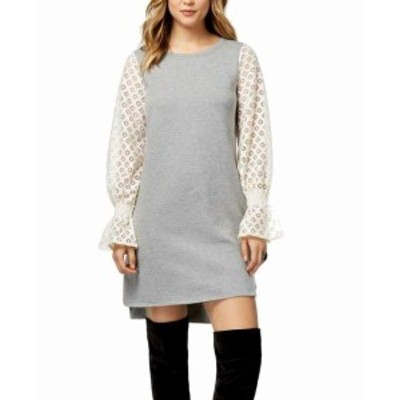HEATHER  ファッション ドレス Kensie Womens Heather Gray Size XL Lace Contrast Sleeve Sweater Dress