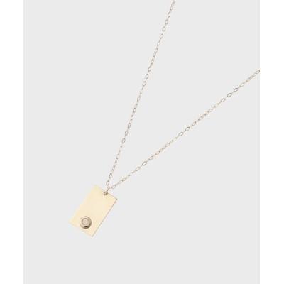 COCOSHNIK(ココシュニック) カラーストーン(ムーンストーン)スクエアプレート ネックレス