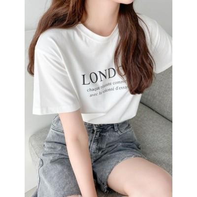 Tシャツ 白 tシャツ レディース カットソー 夏 丸首 トップス 韓国 ロゴT 白T 白 黒