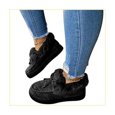 Women Boots Bowknot Fur Lined Winter Warm Flat Boots Casual Platform Ankle Booties Anti-Slip Plush Moccasins Snow Boots