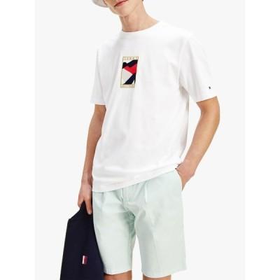 トミー ヒルフィガー Tシャツ メンズ トップス Tommy Hilfiger Icon Flag Logo T-Shirt, White
