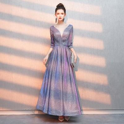 ロングドレス ウェディングドレス Aライン カラードレス 演奏会 お花嫁ドレス パーティードレス 結婚式 二次会ドレス イブニングドレス 大きいサイズ 姫系