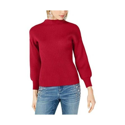 INC Womens Ribbed Pullover Mock Turtleneck Sweater Red M並行輸入品 送料無料