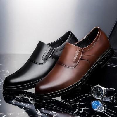 高品質メンズビジネスシューズ 紳士靴 プレーントゥ オックスフォード メンズシューズ 軽量 通勤 本革レザー 通気性 カジュアル ロングノーズ