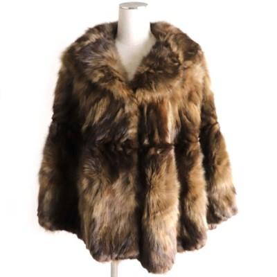 美品▼SABLE ロシアンセーブル 裏地刺繍入り 本毛皮ポンチョ/ケープ ブラウン 毛質柔らか◎