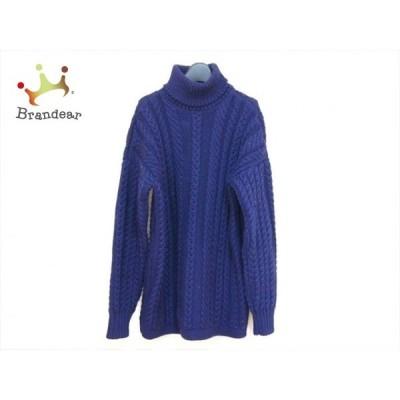 ガンジーウーレンズ 長袖セーター サイズ38 M レディース 美品 ネイビー タートルネック 新着 20200911