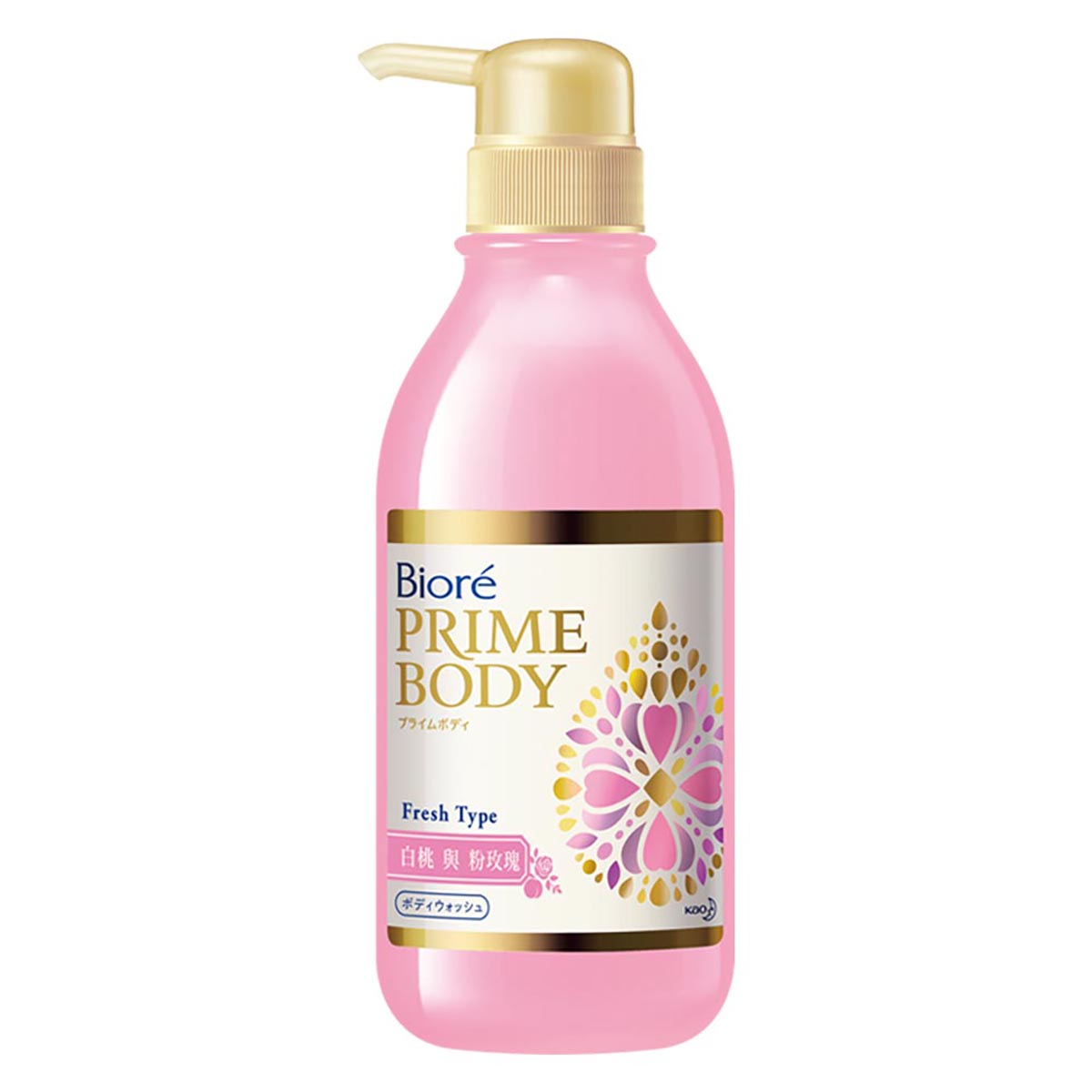 Biore蜜妮極緻精華油沐浴露-白桃與粉玫瑰500ml