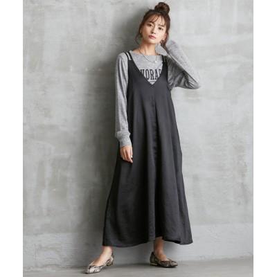 大きいサイズ ローズファンファン ロングキャミソールワンピース ,スマイルランド, ワンピース, plus size dress