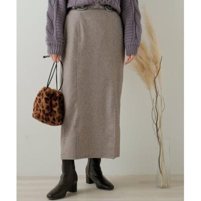【フレームス レイカズン/frames RAY CASSIN】 ヘリンボーンジャガードベルト付きスカート