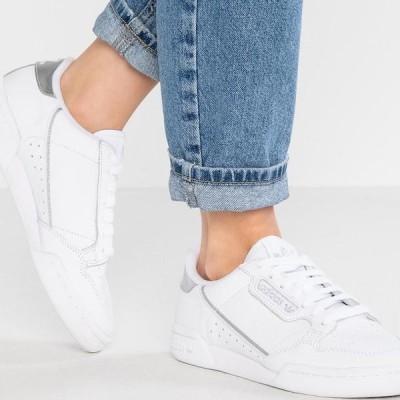 アディダス レディース 靴 シューズ CONTINENTAL 80 - Trainers - footwear white/silver metallic