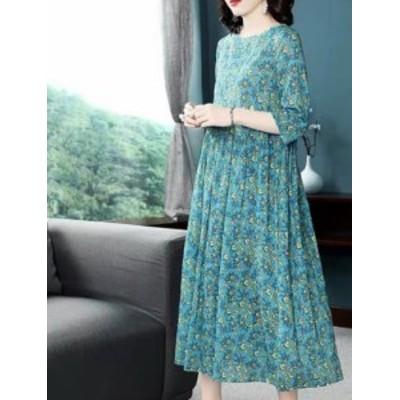 レディース 花柄 ドレス ワンピース ゆったり 膝下丈 5分袖 大きいサイズ 体型カバー 女子会 40代 50代