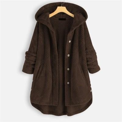 ファーコート レディース ファージャケット コート アウター フード付き 裏起毛 もこもこ カジュアル 秋 冬 毛 シンプル 暖かい 防寒 30代