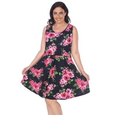 ホワイトマーク ワンピース トップス レディース Women's Plus Size Floral Print Crystal Dress Navy