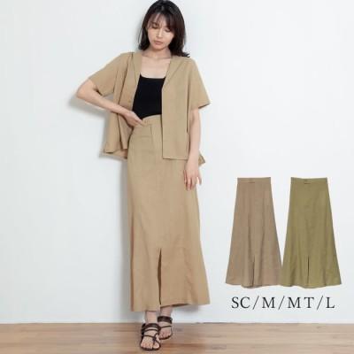 Re:EDIT オフィスにも!ナチュラルでリュクスなスカートが登場 [お家で洗える][低身長向けSサイズ対応][高身長向けMサイズ対応]リネンブレンドセンタースリットナロースカート スカート/スカート ベージュ M レディース