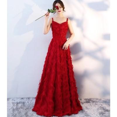 ロングドレス 豪華なドレス カラードレス パーティードレス ウエディングドレス ドレス  二次会ドレス お呼ばれ ピアノ 発表会 結婚式ドレス[レッド]