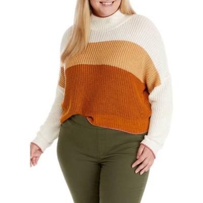 ウァンダリイ レディース ニット・セーター アウター Plus Size High Neck Color Block Sweater