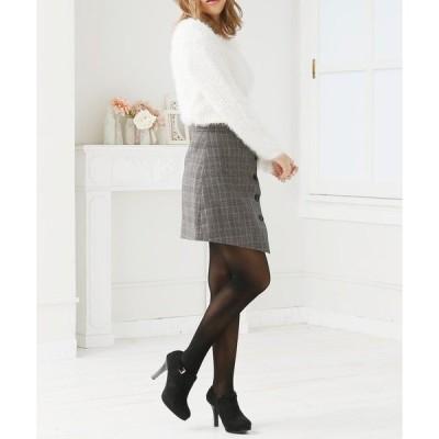 スカート チェック柄スライドボタンショートスカート