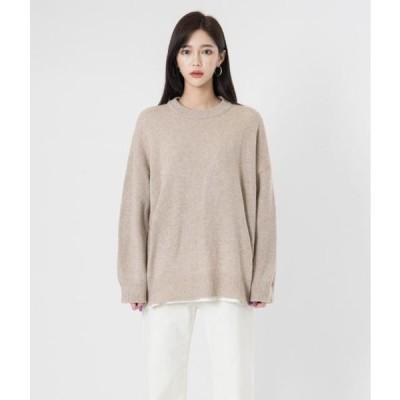 MIXXMIX レディース ニット/セーター Woolen Round Neck Knit Top