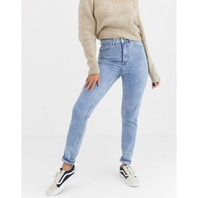 ヴェロモーダ レディース デニムパンツ ボトムス Vero Moda high waist mom jeans light wash Blue
