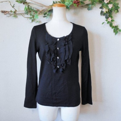 株)ワールド Reflect リフレクト シフォン フリル の 可愛い ウール 100% 薄手 セーター 日本製 黒 9