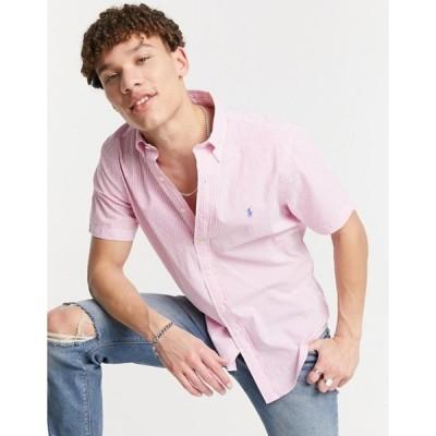 ラルフローレン メンズ シャツ トップス Polo Ralph Lauren seersucker striped short sleeve shirt in pink/white