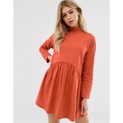 エイソス ASOS DESIGN レディース ワンピース ワンピース・ドレス high neck curve seam smock dress Rust
