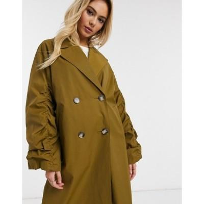 エイソス レディース コート アウター ASOS DESIGN ruched sleeve trench coat in olive
