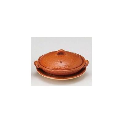 和食器 メ395-037 5号赤楽柳川鍋(受皿付)