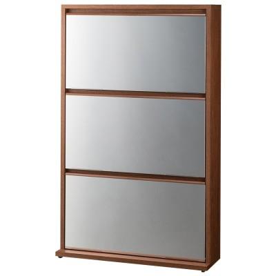 家具 収納 玄関収納 屋外収納 シューズボックス 下駄箱 静かに開閉するミラー扉の薄型シューズボックス 3段 幅70cm 574007