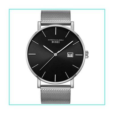 【新品】BUREI Mens Luxury Automatic Watches Ultra Thin Modern Black Analog Dial Sapphire Crystal Lens Date Display with Silver Stainless Steel Mes