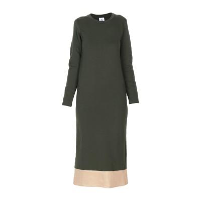 LE VOLIÈRE 7分丈ワンピース・ドレス ミリタリーグリーン M コットン 95% / ポリウレタン 5% 7分丈ワンピース・ドレス
