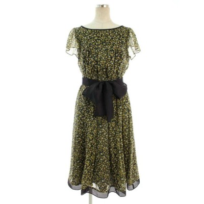 エムズグレイシー ワンピース フラワーモチーフ 袖フリル 花柄 半袖 40