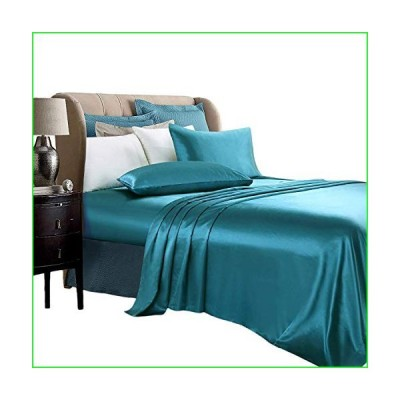 4 PC Satin Bed Sheet Set 100% Soft Silk Satin Bed Sheet Set with High Thread Count 16'' Deep Pocket Super Soft & Luxury with 1 Fitted Sheet,