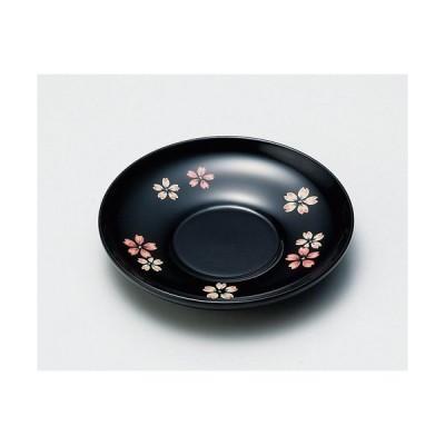木製越前塗 桜ちらし 4.0茶托 黒