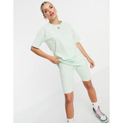スリードベア レディース シャツ トップス Threadbare legging shorts and oversized t-shirt set in lime